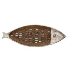Bitossi Raymor Ceramic Fish Tray Terracotta White Signed, Italy, 1950s
