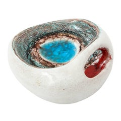Bitossi Ceramic Fused Glass Bowl Blue Red White Pottery Signed, Italy, 1960s