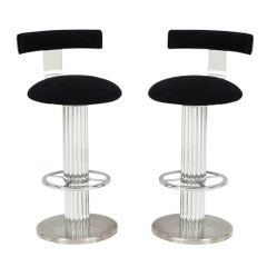 Designs for Leisure Bar Stools Nickel Signed, USA, 1990s