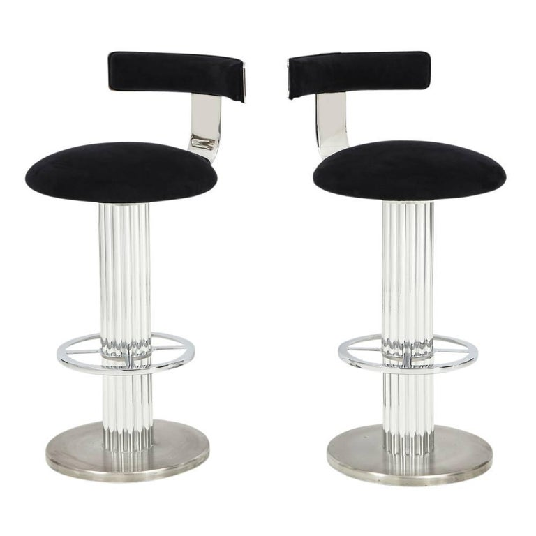 Pair Of Designs For Leisure Bar Stools Nickel Signed Usa 1980s Two Swivel