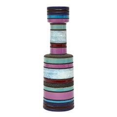 Aldo Londi Bitossi Raymor Ceramic Vase Stripes Pottery Signed, Italy, 1960s
