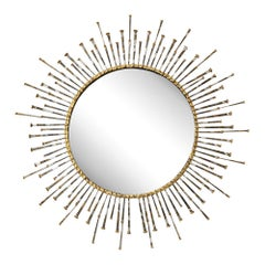 C. Jere Mirror Spikes Gold Silver Nails Starburst Sun Signed, USA, 1960s