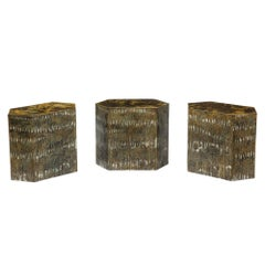 Philip & Kelvin Laverne Bronze Side Tables Eternal Forest Signed, USA, 1970s