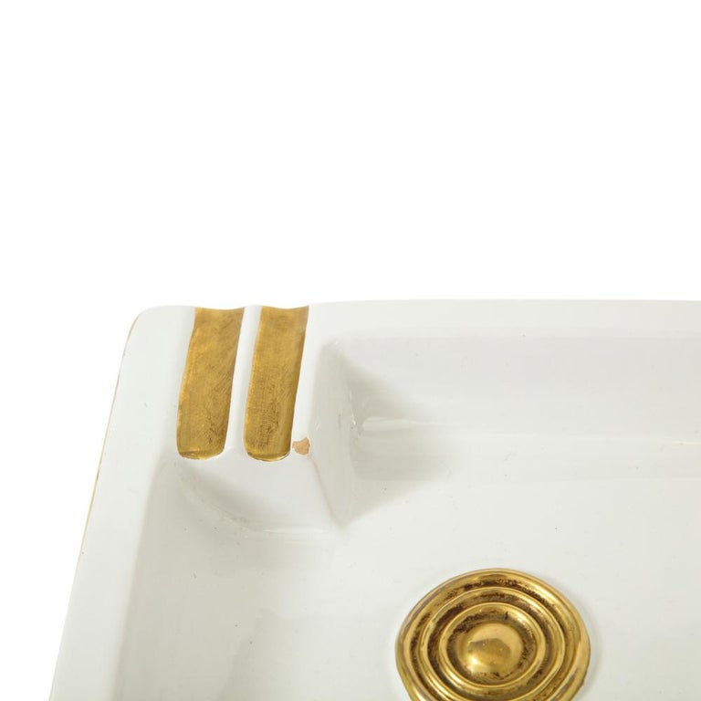 Glazed Zaccagnini Ceramic Ashtrays Gold White Signed, Italy, 1950s For Sale