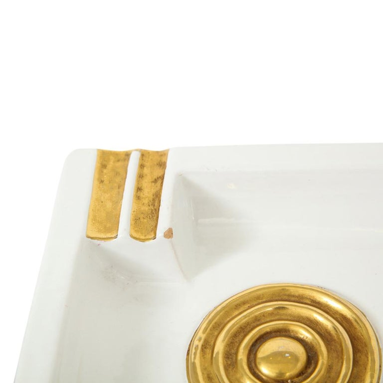 Zaccagnini Ceramic Ashtrays Gold White Signed, Italy, 1950s In Good Condition For Sale In New York, NY