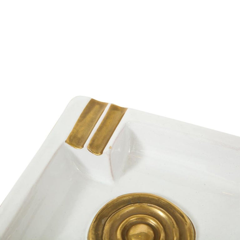 Mid-20th Century Zaccagnini Ceramic Ashtrays Gold White Signed, Italy, 1950s For Sale