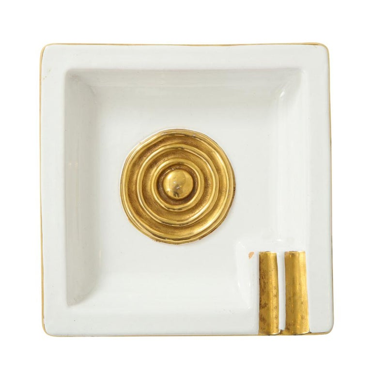 Zaccagnini Ceramic Ashtrays Gold White Signed, Italy, 1950s For Sale 1