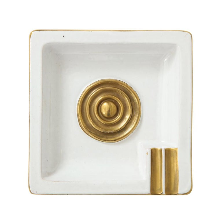 Zaccagnini Ceramic Ashtrays Gold White Signed, Italy, 1950s For Sale 2