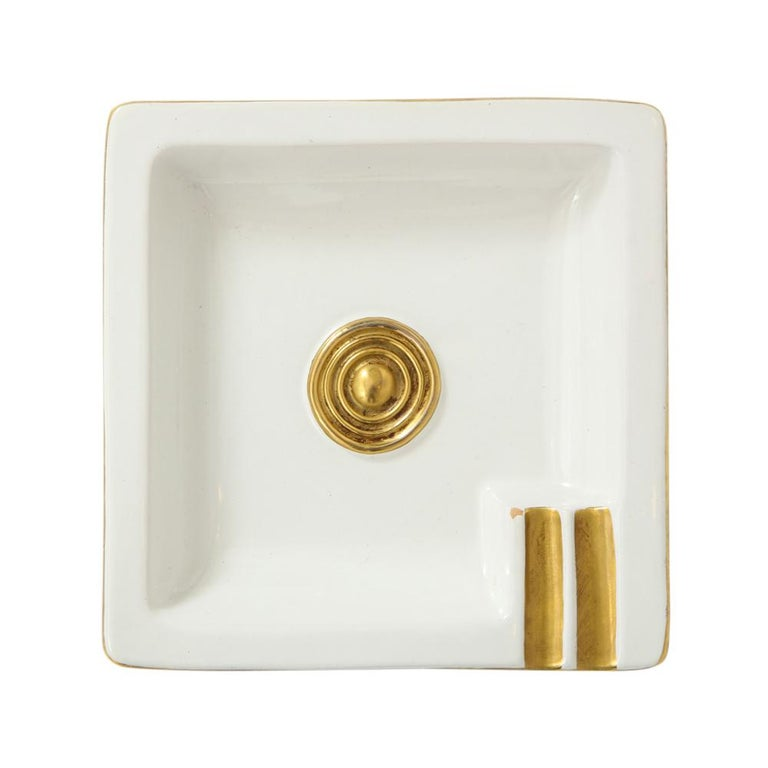 Zaccagnini Ceramic Ashtrays Gold White Signed, Italy, 1950s For Sale 3