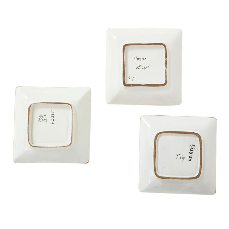 Zaccagnini Ceramic Ashtrays Gold White Signed, Italy, 1950s For Sale 4