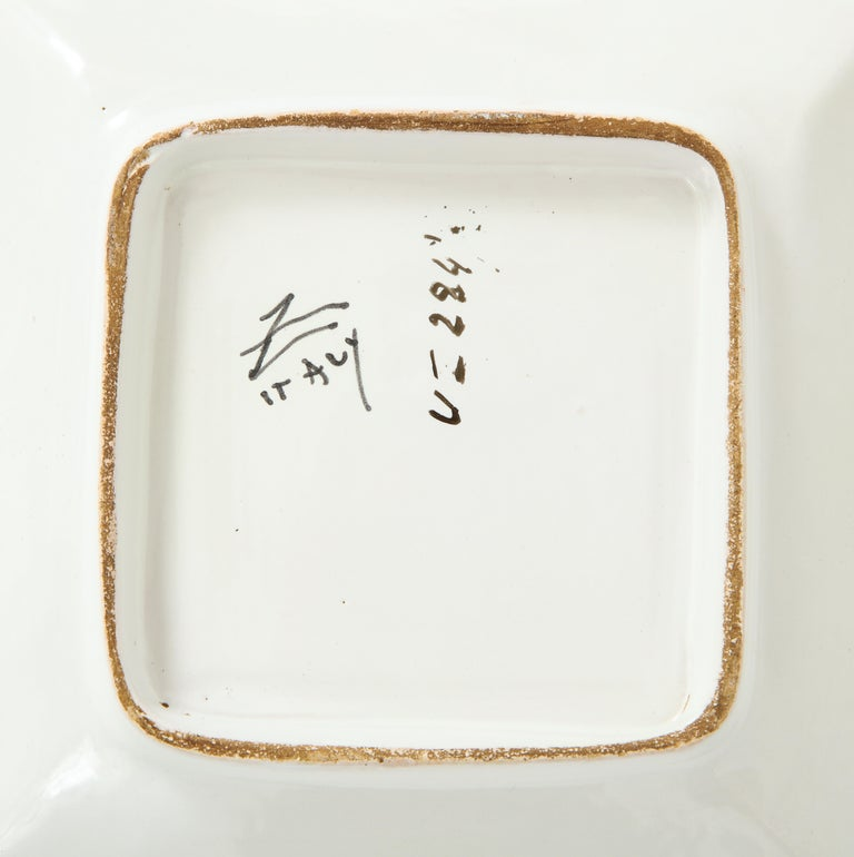 Zaccagnini Ceramic Ashtrays Gold White Signed, Italy, 1950s For Sale 7