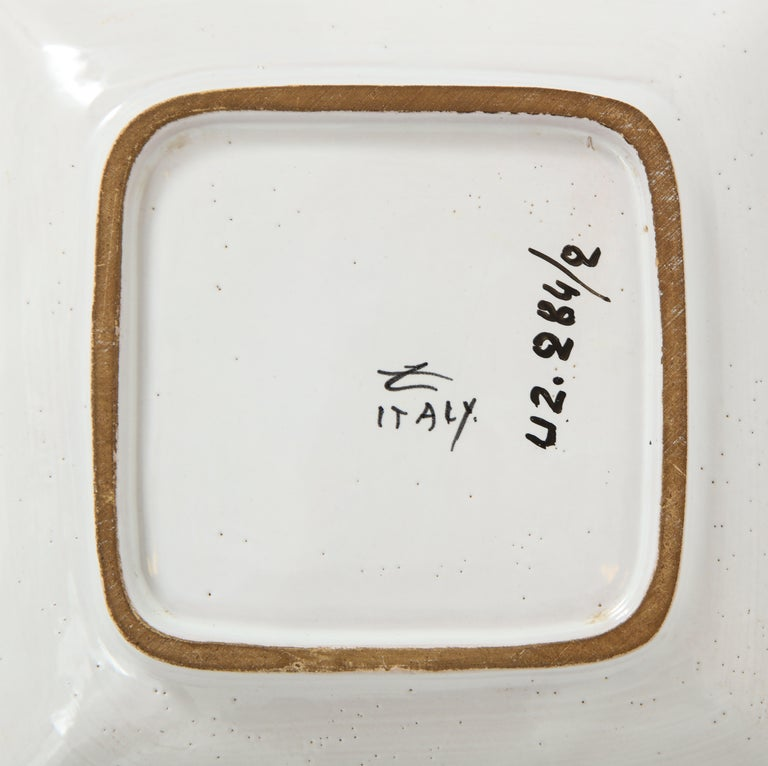 Zaccagnini Ceramic Ashtrays Gold White Signed, Italy, 1950s For Sale 9