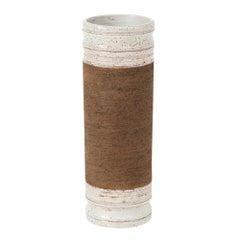 Rosenthal Netter Ceramic Vase Cylinder Brown White Signed, Italy, 1960s