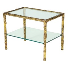 Silas Seandel Bronze and Mixed Metals Two Tier Side Table Glass Signed 1970s