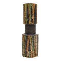 Bitossi Londi Ceramic Vase Geometric Stripes Milano Moderna Signed Italy, 1960s