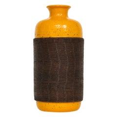 Bitossi Ceramic Pottery Vase Orange Brown Rosenthal Netter Signed Italy, 1960s