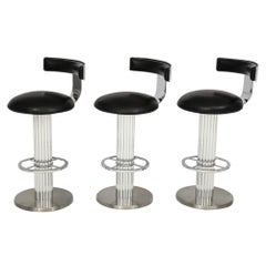 Three Designs for Leisure Bar Stools Polished Brushed Steel Leather, USA, 1980s