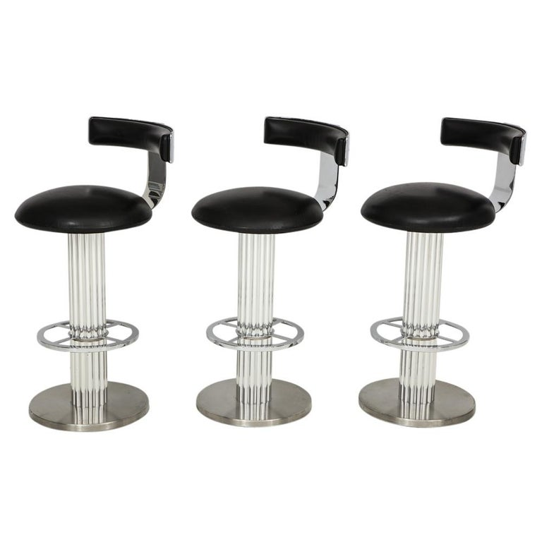 Three Designs For Leisure Bar Stools Polished Brushed Steel Leather Usa 1980s
