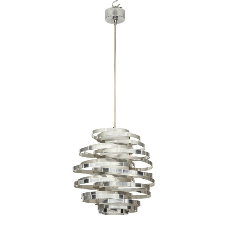 Cyclone Pendant Lamp Chromed Aluminum, Italy, 1970s