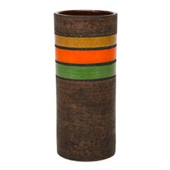 Bitossi Ceramic Cylinder Vase Stripes Brown Yellow Orange Green, Italy, 1960s