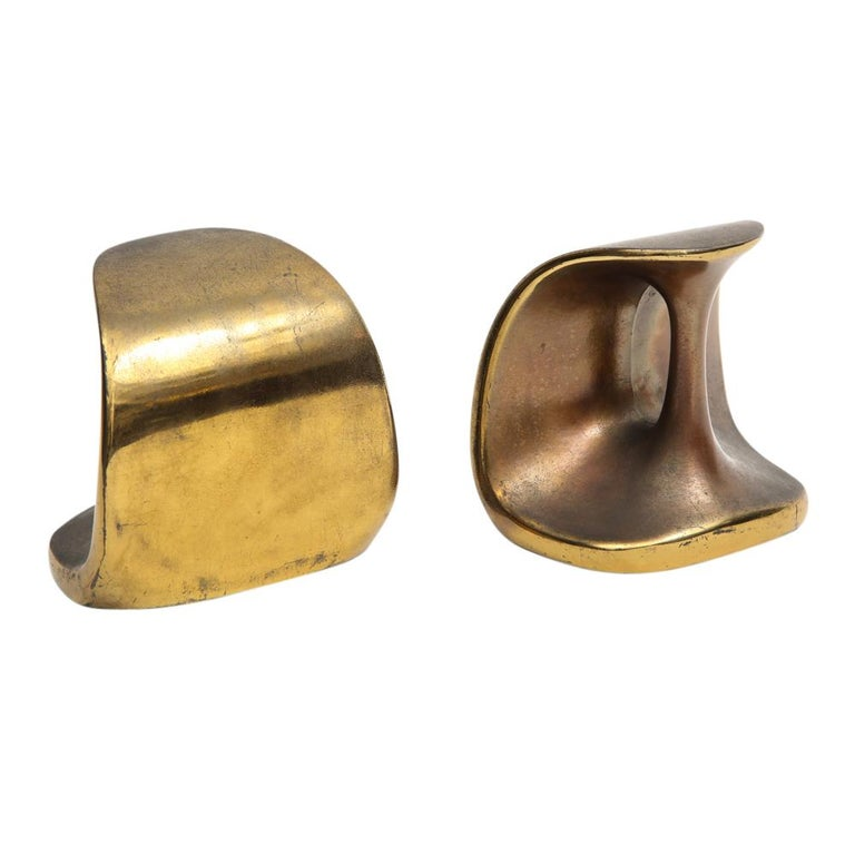 Ben Seibel Brass Bookends Jenfred-Ware Dumbbells, USA, 1950s