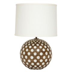 Zaccagnini Ceramic Table Lamp Polka Dot Signed, Italy, 1960s