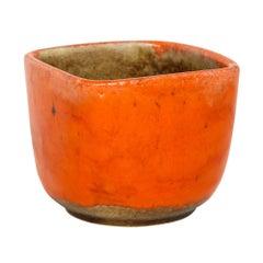 Guido Gambone Ceramic Bowl Orange Signed Italy, 1950s