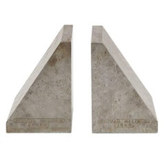 Richard Metzner Steel Bookends Gray Brutalist Architectural Signed, USA, 1960s
