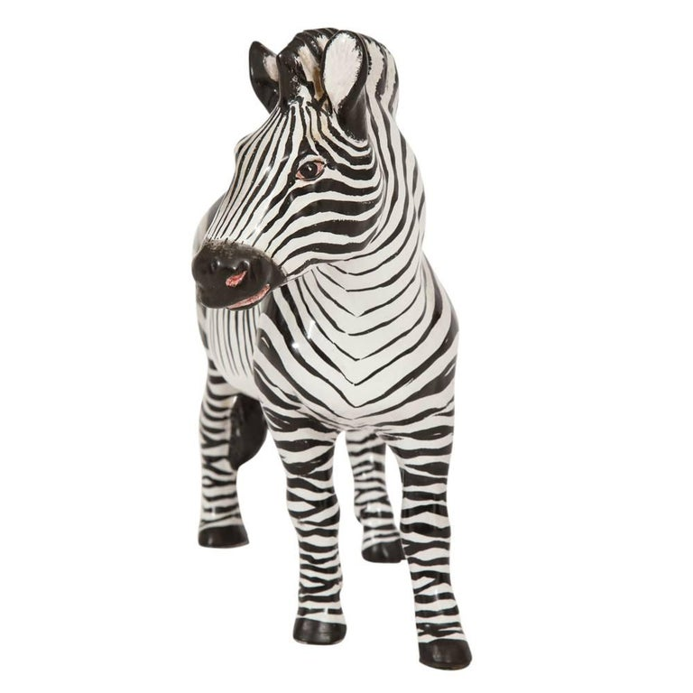 Manlio Trucco zebra, ceramic black and white, signed. Large handcrafted realistic zebra sculpture. Signed Italy Manlio on underside.