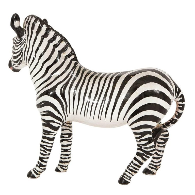 Mid-Century Modern Manlio Trucco Zebra, Ceramic, Black and White, Signed For Sale