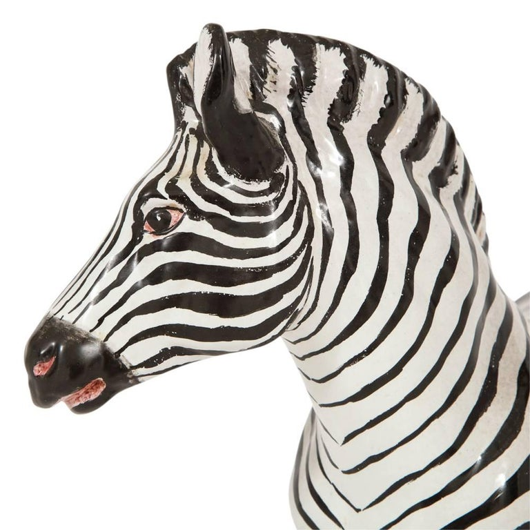 Manlio trucco ceramic zebra sculpture black white signed italy 1960s in good condition for