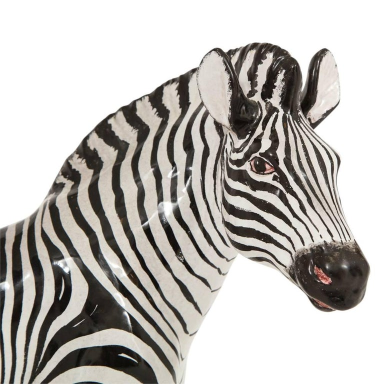 Glazed manlio trucco ceramic zebra sculpture black white signed italy 1960s for sale