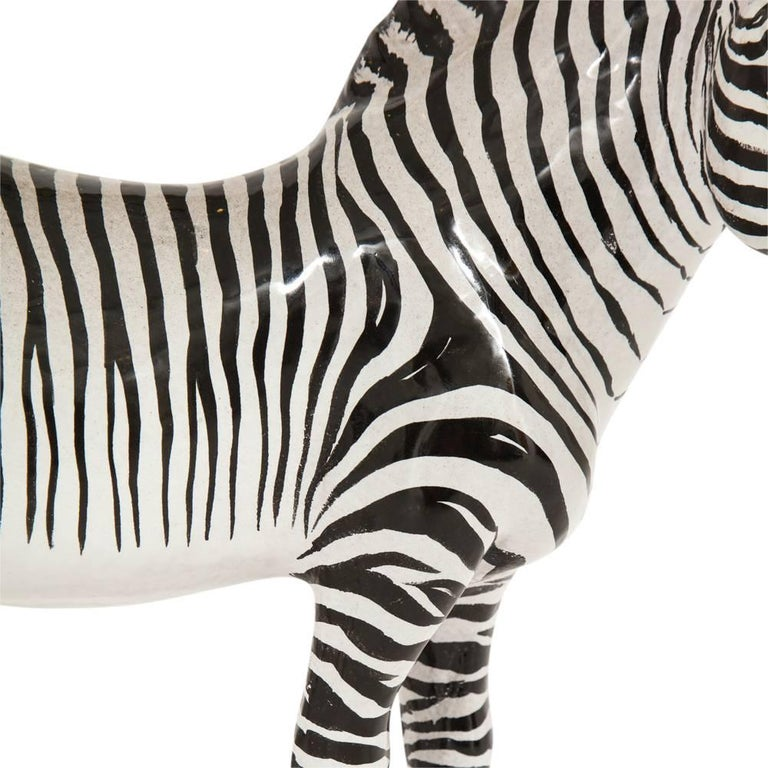 Mid 20th century manlio trucco ceramic zebra sculpture black white signed italy 1960s