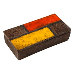 Raymor Bitossi Ceramic Box Mondrian Orange Red Yellow Brown Signed Italy, 1960s