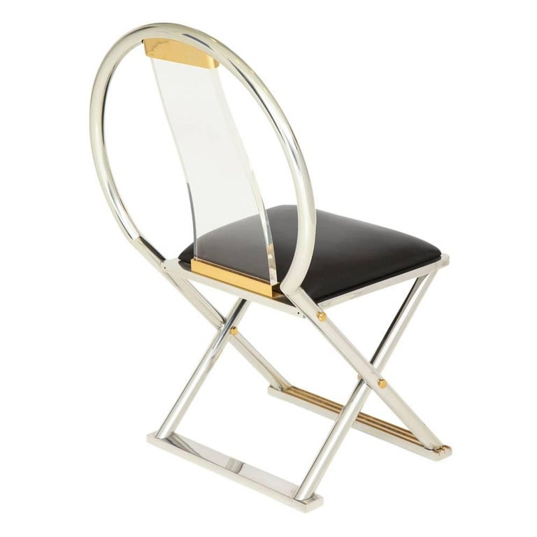 Karl Springer Chinese Chair Acrylic Steel Leather Brass