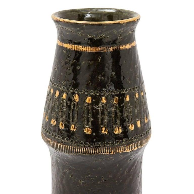 Aldo Londi Bitossi Ceramic Vase Safety Pins Black Gold Signed Italy