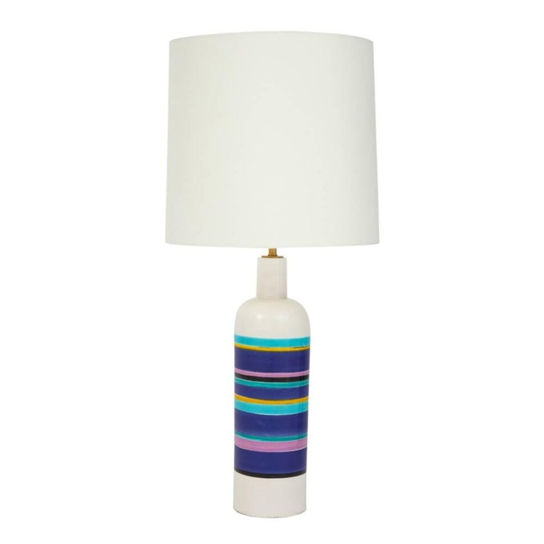 Bitossi Ceramic Blue Striped Table Lamp Signed Italy 1960's