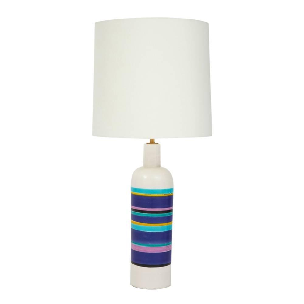 Bitossi Ceramic Blue Striped Table Lamp Signed Italy 1960u0027s