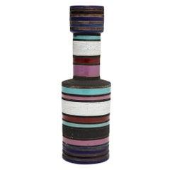 Aldo Londi Bitossi Raymor Ceramic Vase Blue Violet Signed, Italy, 1960s