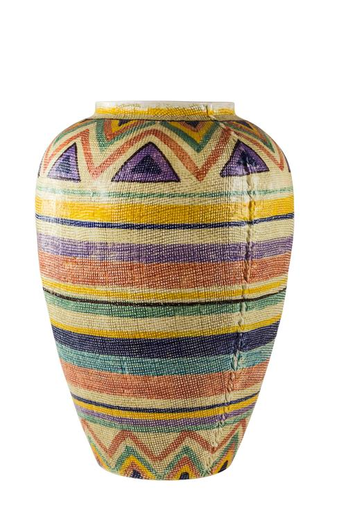 Italian Ceramic Woven Textured Floor Vase Italy 1970s At 1stdibs