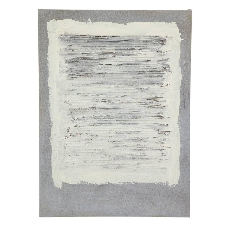 Adja Yunkers Painting Abstract Acrylic and Yarn Collage Grey White, 1970s, USA