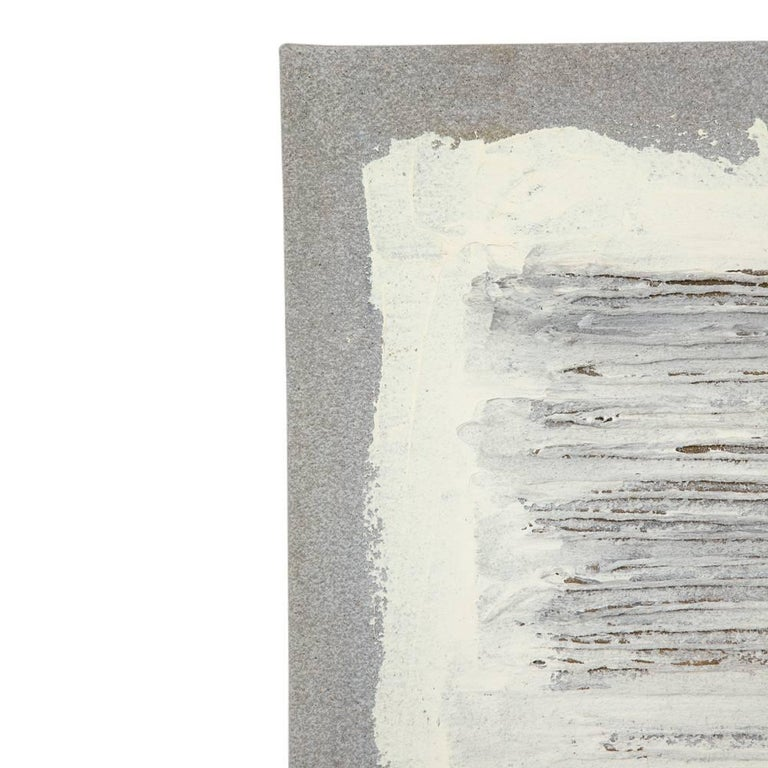 American Adja Yunkers Collage Painting, Acrylic and Yarn on Canvas, White and Gray For Sale