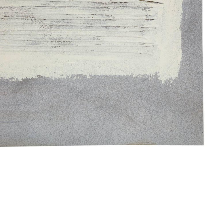 Mid-Century Modern Adja Yunkers Collage Painting, Acrylic and Yarn on Canvas, White and Gray For Sale