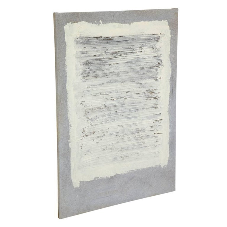 Adja Yunkers collage painting, acrylic and yarn on canvas, white and gray. A vertical canvas with off-white painted horizontal rows of yarn against a gray background. Yunkers was primarily known as printmaker but did execute paintings. Untitled and
