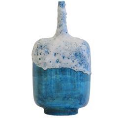 Large Guido Gambone Blue and White Glaze Pottery Vase