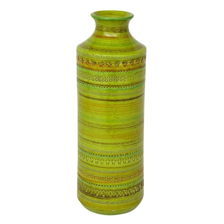 Bitossi Ceramic Vase Rosenthal Netter Chartreuse Signed Italy 1960's
