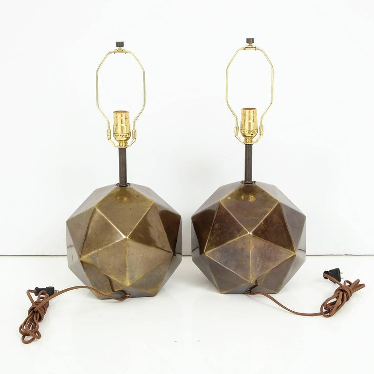 Westwood Lighting: Westwood Bronze Faceted Table Lamps Pair Signed USA 1970's