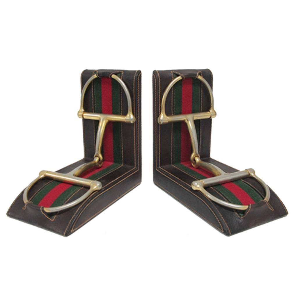 Gucci Horsebit Leather And Brass Bookends Signed Italy 1970u0027s For Sale At  1stdibs