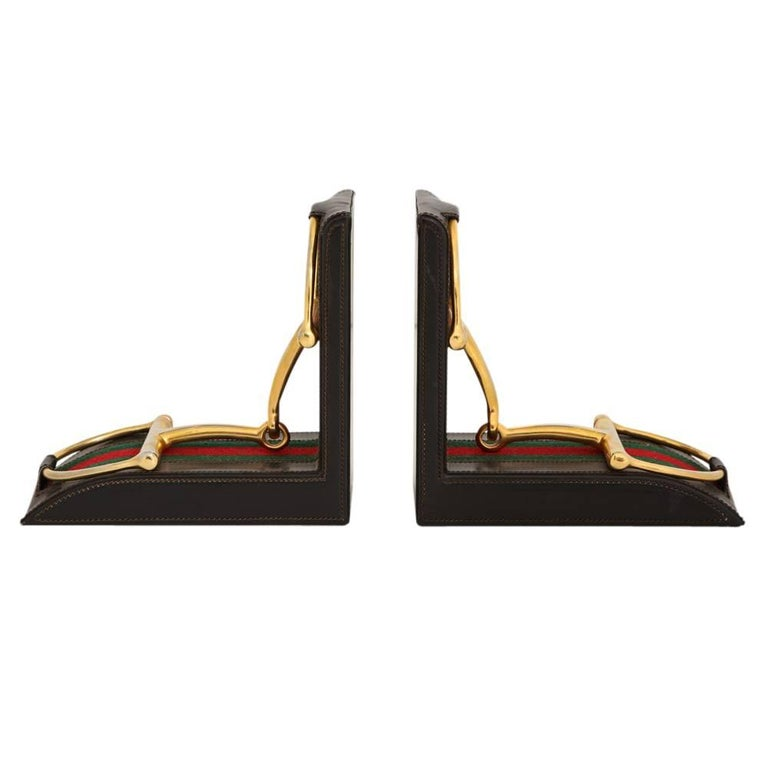 Mid-Century Modern Gucci Horsebit Leather and Brass Bookends Signed Italy 1970's For Sale