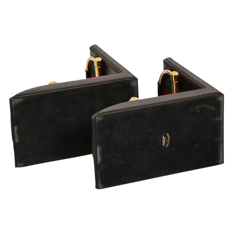 Gucci Horsebit Leather and Brass Bookends Signed Italy 1970's For Sale 1